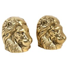Solid Brass Gold Lion Head Book Ends Heavy Vintage Paperweights / Shelf Decor
