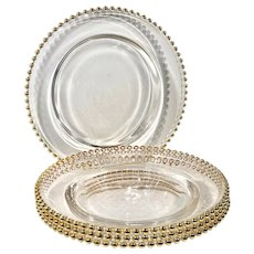 Set of 4 Traditional Glass Chargers Holiday Dinnerware With Gold Balled Edge