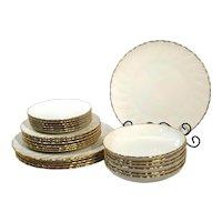 """Lenox China Dish Set """"Laurent"""" Wavy Gold Rim Plates, Salad, Bread, Bowl 24 Pcs."""