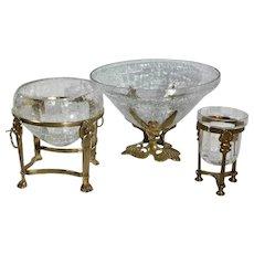 Vintage Flower Holders / Crackle Glass Vases / Brass Stands / Candle Stands -Set