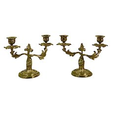 Italian Brass Candelabras Antique Double Taper Holders - a Pair Floral Candelabras