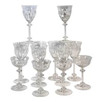 Cut Crystal Glasses : Wine Glasses / Tall Champagne Glasses - 12 Pieces Vintage