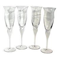 Mikasa Sea Mist Clear Frost Champagne Flutes Wedding Toasting Glasses - 4