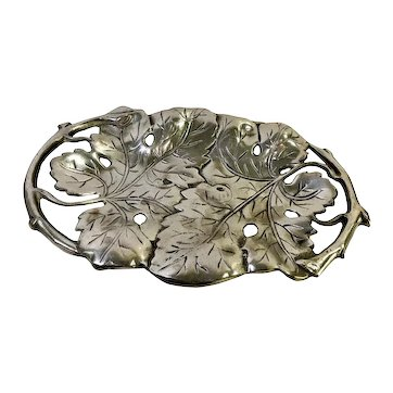 Leaves Design Pewter / Armatale Tray and Handles