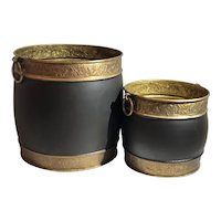 2 Large Brass Planters Embossed Black Handled Hand Crafted Flower Tree Pots