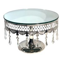 Cake Stand Silver Plated Mirrored With Crystals Centerpiece Table Decor Wedding