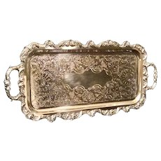 Poole Silver Plated Tray Etched Vintage Footed Serving Bar Dressing Tray