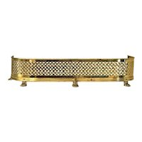 Vintage Brass Fireplace Fender Pierced Brass Lg Lion Paw Feet Hollywood Regency