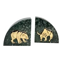 Bear & Bull Vintage Brass Marble Stock Market Bookends Wall Street Paperweights