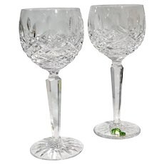 Waterford Kenmare Wine Hock Cut Crystal Blown Glasses, Ireland - a Pair