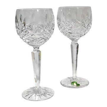 Waterford Kenmare Wine Hock Cut Crystal Blown Glasses, Ireland - a Pair