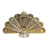 Vintage Brass Fireplace Screen / Gargoyle / Decorated Victorian Fan / Mid 20th Century