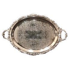 "Baroque Silver Plated Tray Wallace 29"" Ornate Serving Tray Tea Bar Serving Old"