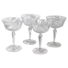 Vintage Wedgwood Majesty Cut Crystal Glasses Champagne / Sherbet Cups Set 4