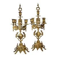 "2 - Italian Brevettato ""Style"" Brass / Bronze Baroque Candelabra 5 Arm"