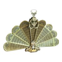 """Victorian Brass Fireplace Screen Vintage Cameo """"Peacock"""""""