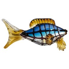 Hand Blown Glass Fish Colorful Nautical Hand Crafted Vintage