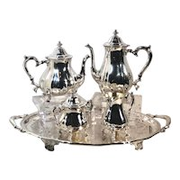 Oneida Silver Plated Tea Coffee Set Hollowware Chipendale - Sm Dings -5 Pc Set