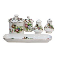 Staffordshire Pagoda Gold Trim England Traditional Serving Dishes - 7 Pcs