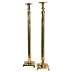 Candle Sticks Manel Solid Brass Pair Column MCM 29 Inches