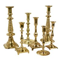Brass Candlesticks Vintage Candle Holders - Set of 7