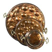 Vintage Turkish Copper Hanging Pans - Set of 3