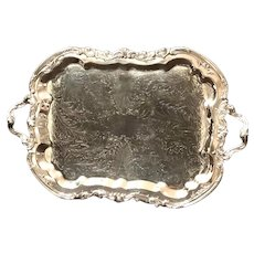 1883 Fb Rogers Lady Margaret Silver Plated Footed Butlers Serving Tray