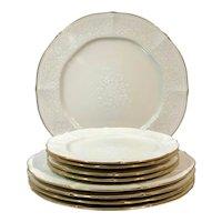 Noritake Chandon Baroque White Floral Gold Trim / Chop Plates - 9 Pieces