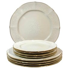 Noritake Chandon Baroque White Floral Gold Trim / Chop Plates - 9 Pieces