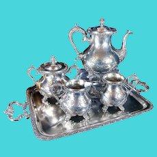 Antique 1900 Victorian Standard Silver Co. Tea Coffee Set / Tray