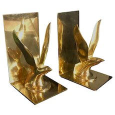 Vintage Mid-Century Modern Brass Seagull Bookends