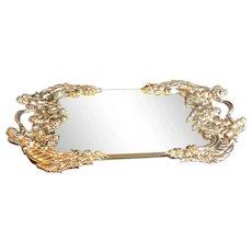 Vintage Godinger Silver Plated Cherub Victorian Mirror Dressing Tray