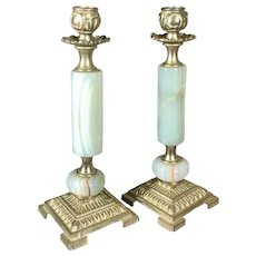 Vintage Candle Holders Brass and Marble Traditional English Design