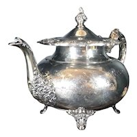"Vintage Community ""Ascot"" Tea Pot Silver Plated Etched Victorian"