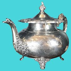 """Vintage Community """"Ascot"""" Tea Pot Silver Plated Etched Victorian"""