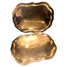 Vintage Brass Serving Trays Wall Hanging Mid-Century Modern