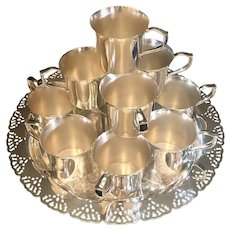 Vintage Silver Plated Punch Cups 12 With Serving Tray