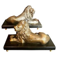 Vintage Bombay Brass Lion and Marble Large Book Ends Statues Paperweights