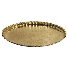 Vintage Brass Oval Etched Tray Floral Serving Bar Tray Moroccan