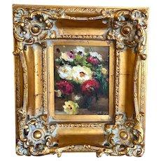 Vintage Oil Painting Flower Arrangement Gilded Molded Frame