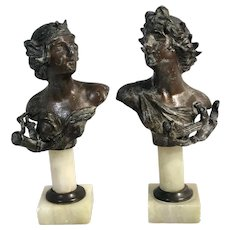 """Spelter Metal Busts Statues Alabaster Stand 6.5"""" Tall Circa 1800s"""