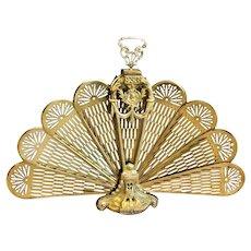"Cameo Peacock ""Victorian Style"" Brass Fireplace Fan Folding Screen"