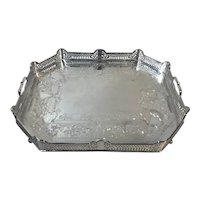 Vintage Silver Plated Pierced Etched Gallery Serving Tray
