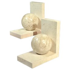 Vintage Marble Renoir Bookends Late 20th Century- a Pair