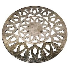 Vintage Silver and Glass Round Trivet