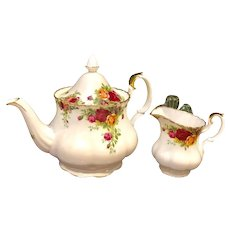 Teapot and Creamer 1960s Royal Albert Old Country Rose