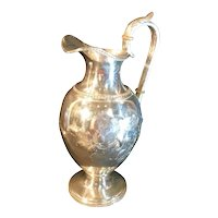 Victorian Silver Plated Wine Ewer, Water Pitcher Repousse Vintage