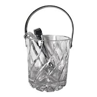 Cut Crystal Ice Bucket and Tongs Vintage Mid-Century Mikasa Olympus