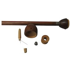 Fruit Wood & Inlaid Wood Sewing Kit Cane