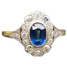 Antique Edwardian 18ct Gold Sapphire & Diamond Oval Cluster Ring, Sapphire Engagement Ring